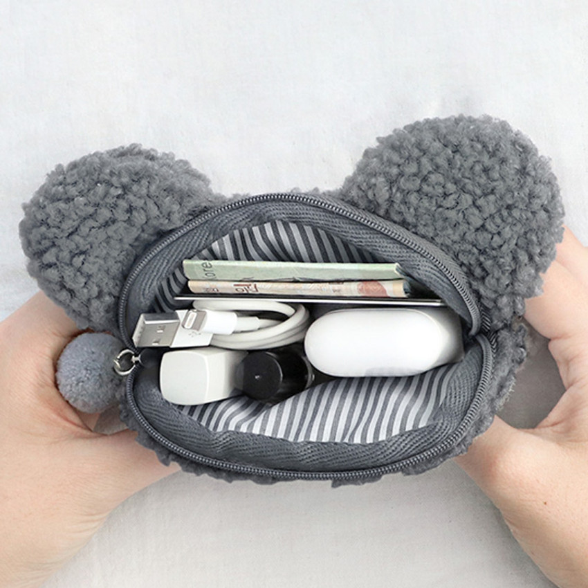 Inside of Iconic Furry buddy flat zipper pouch