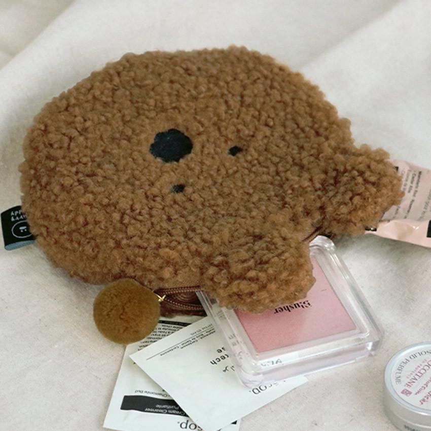 Iconic Furry buddy flat zipper pouch