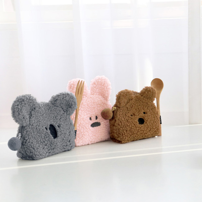 Furry buddy small cosmetic pouch bag