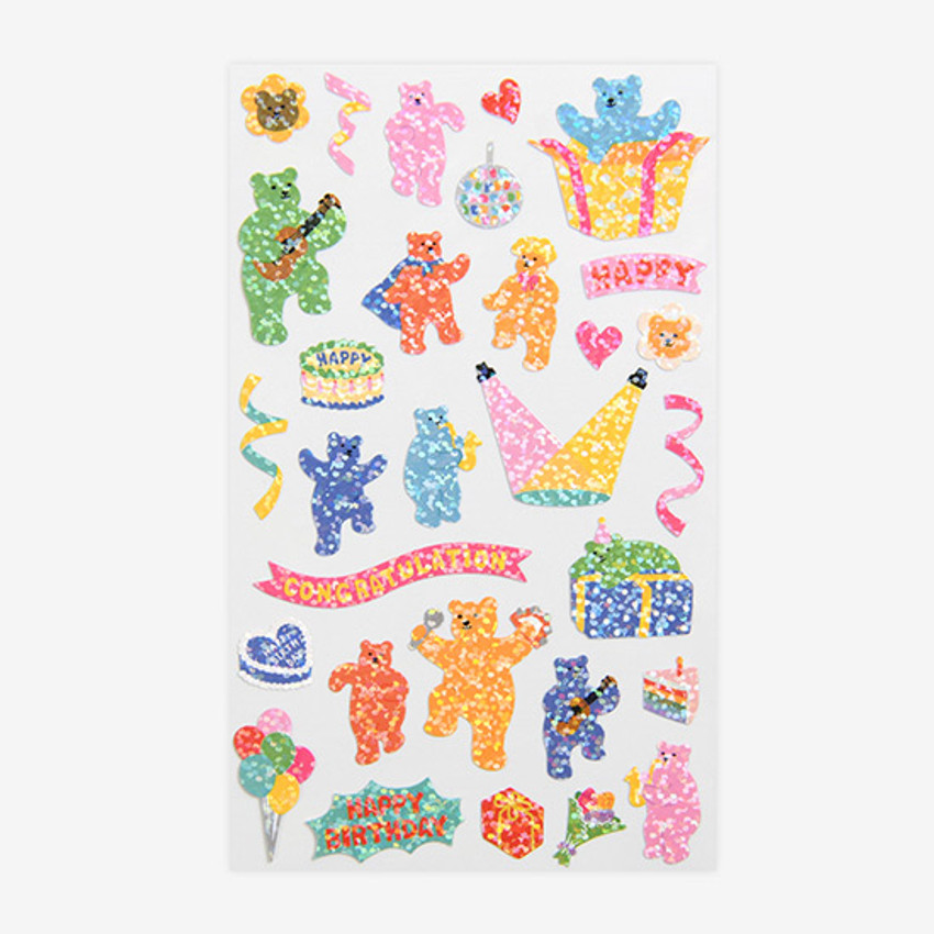 Dailylike Jelly bear party hologram removable sticker
