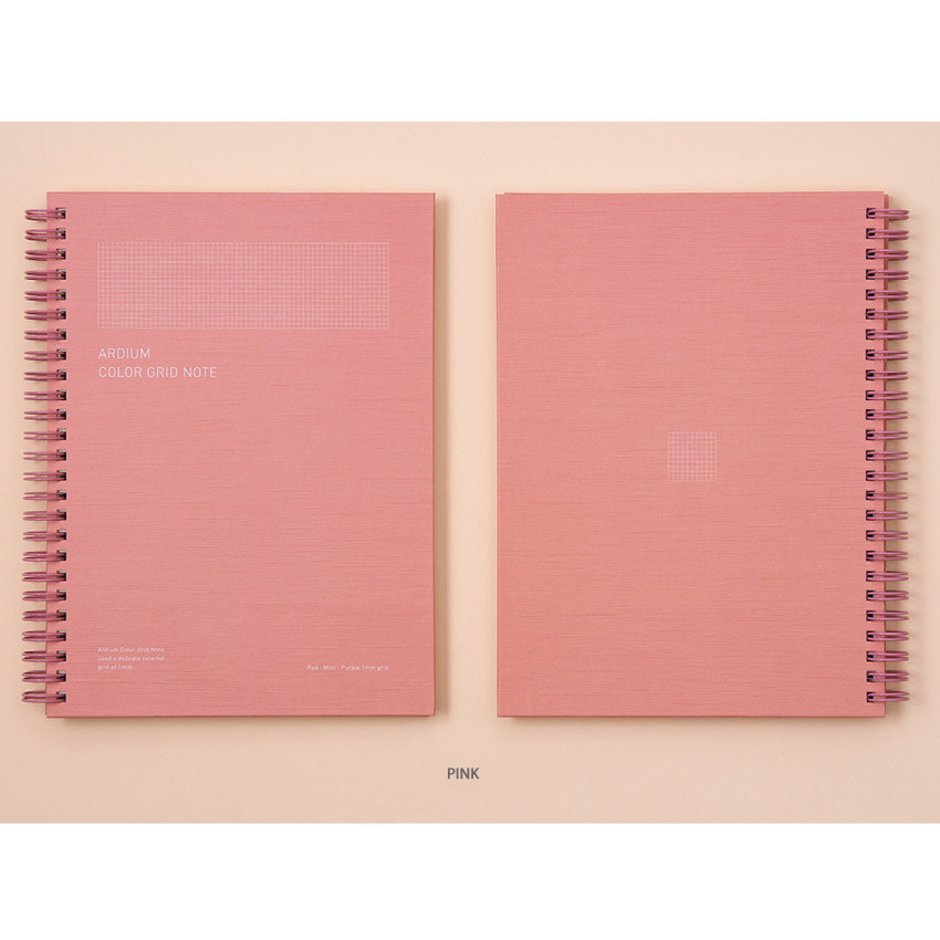 Pink - Ardium Color spiral grid notebook 126 pages