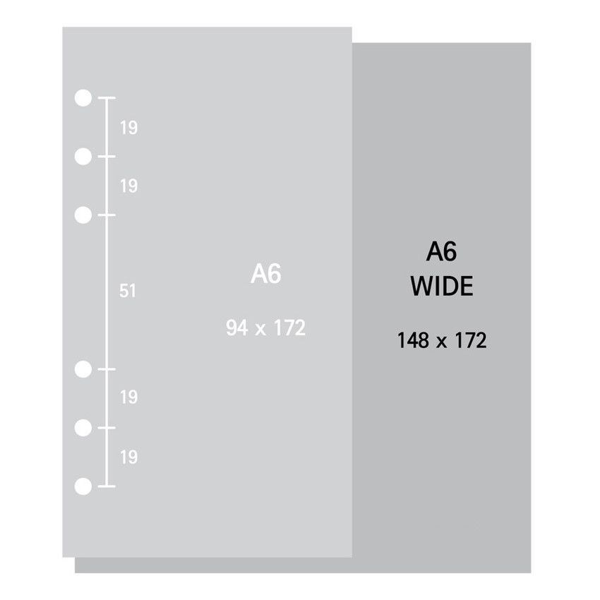 Size - 2NUL Basic 6-ring wide A6 blank note paper refill
