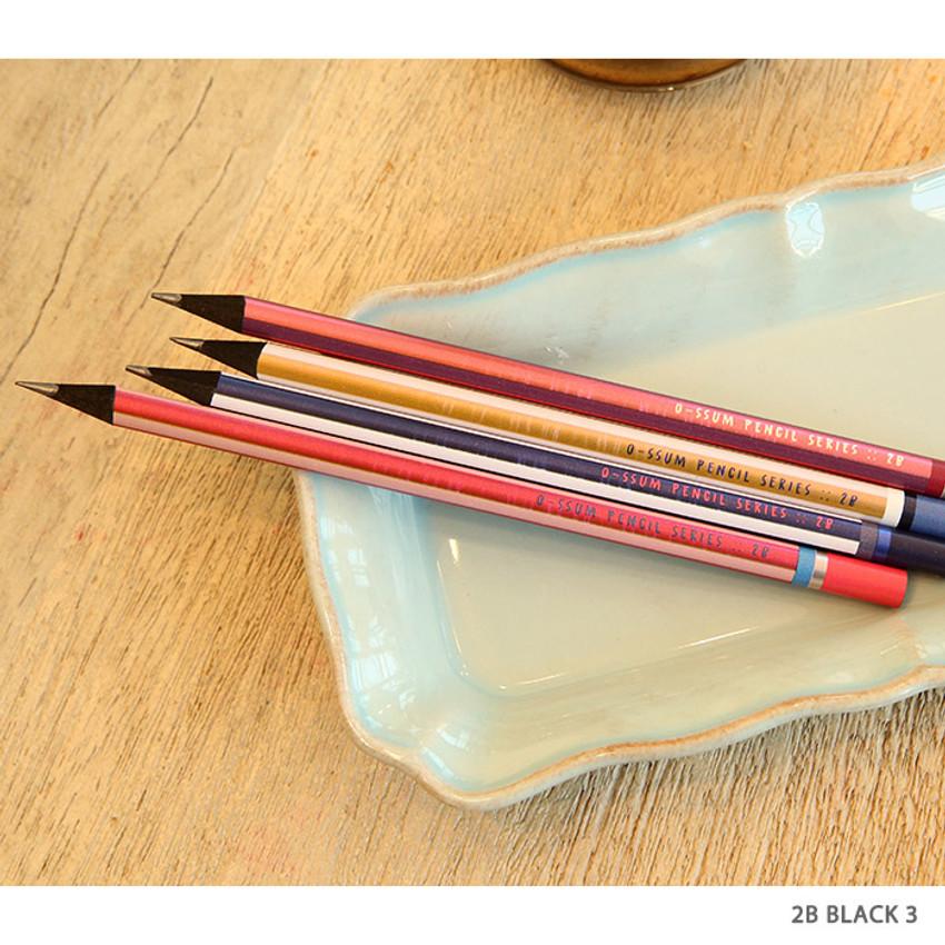 no.3 - Oh-ssumthing O-ssum black 2B pencil set of 4