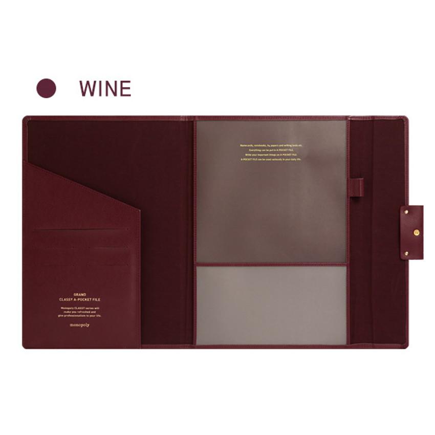 Wine - Monopoly Grand new classy A-pocket file folder pouch bag