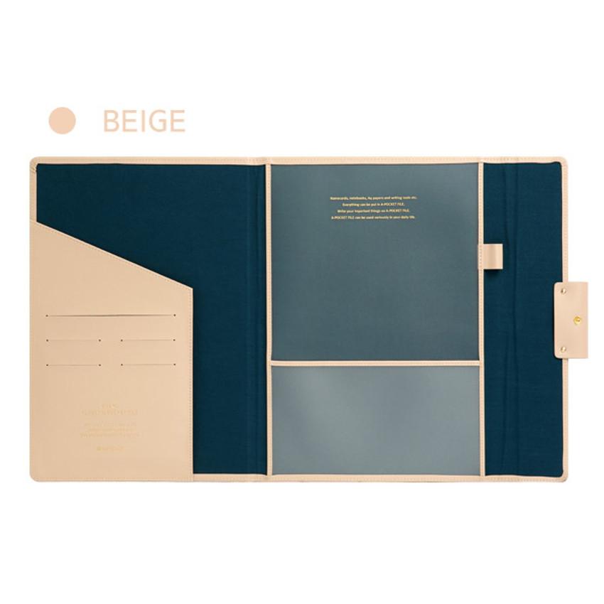 Beige - Monopoly Grand new classy A-pocket file folder pouch bag