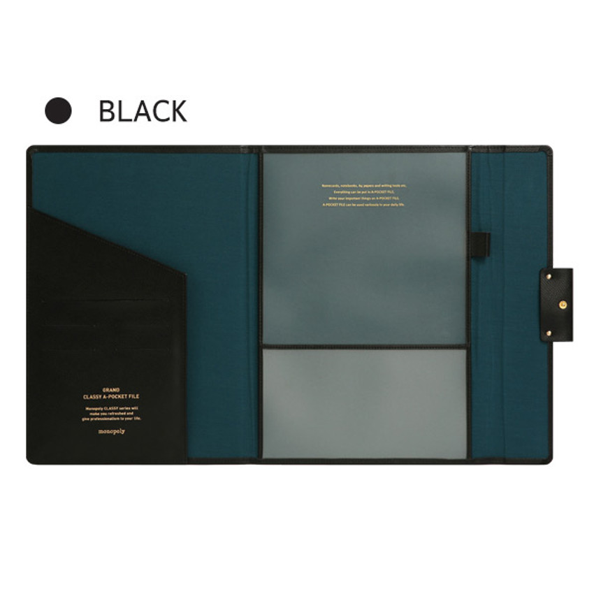 Black - Monopoly Grand new classy A-pocket file folder pouch bag