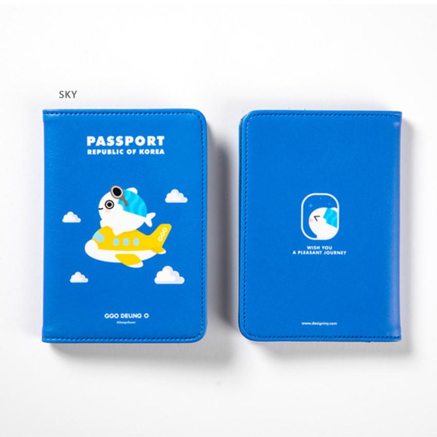 Sky - DESIGN IVY Ggo deung o RFID blocking passport case ver2