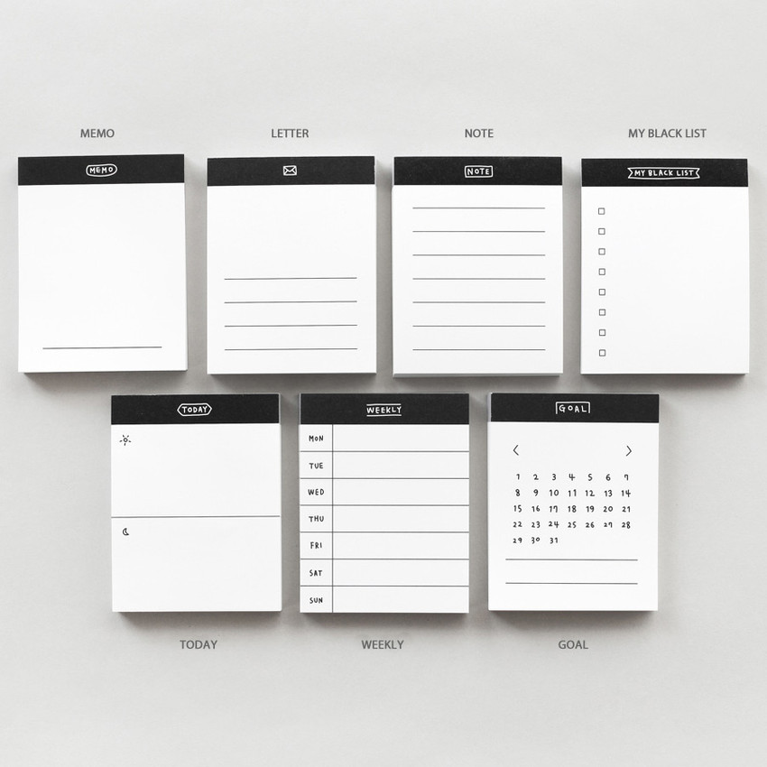 Option - 2NUL Drawing memo checklist weekly plan notes notepad