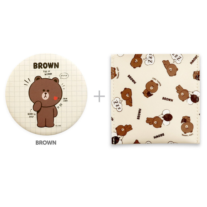 Brown - Monopoly Line friends round mirror with cute pattern pocket