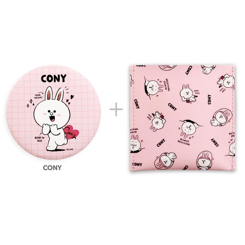 Cony - Monopoly Line friends round mirror with cute pattern pocket