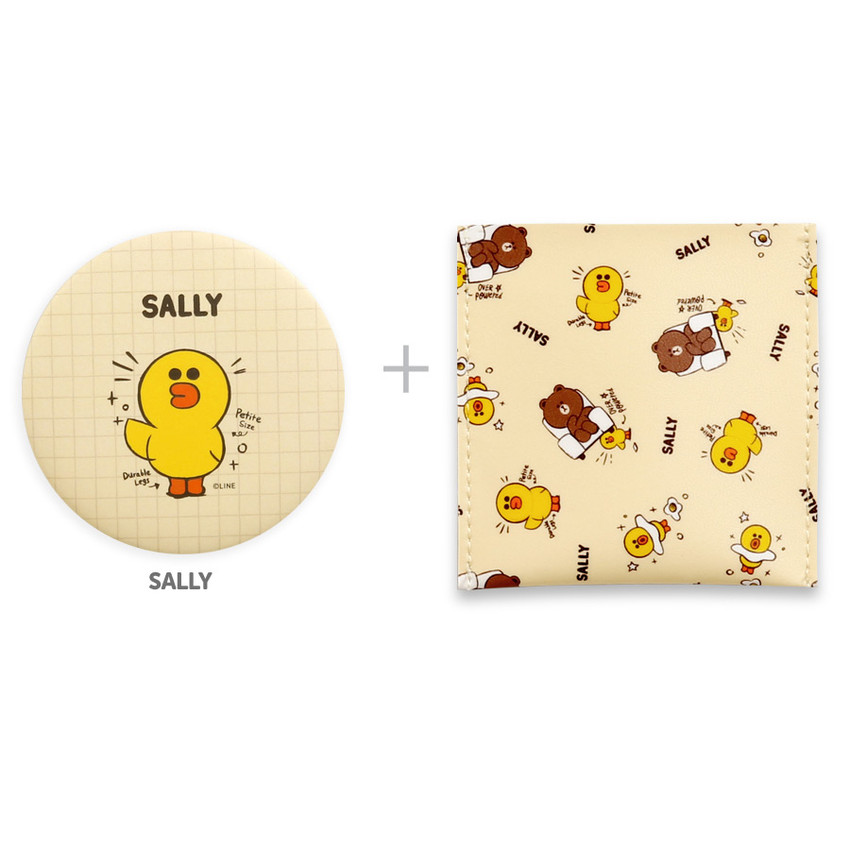 Sally - Monopoly Line friends round mirror with cute pattern pocket