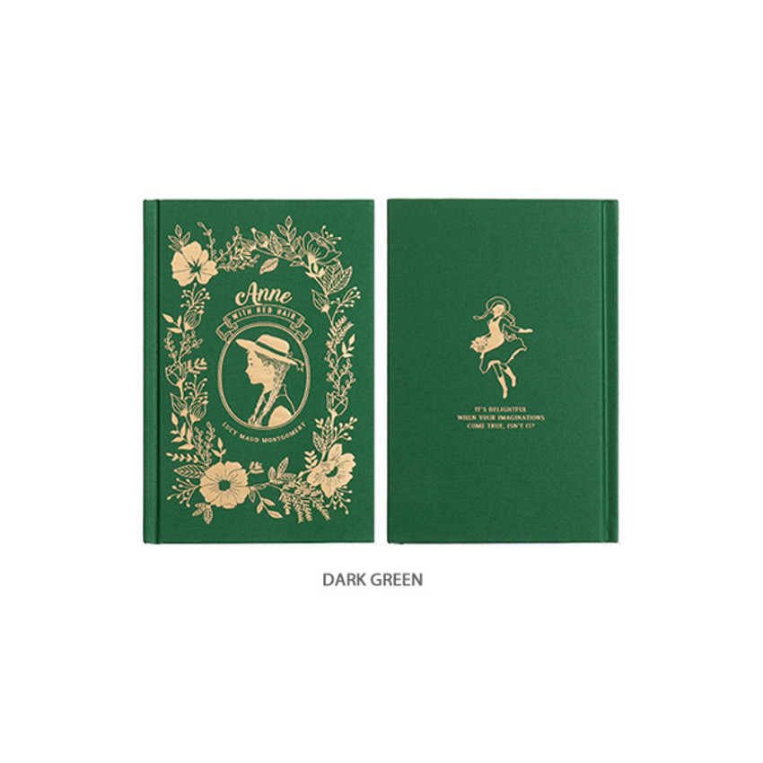 Dark Green - Anne medium hardcover undated monthly planner notebook
