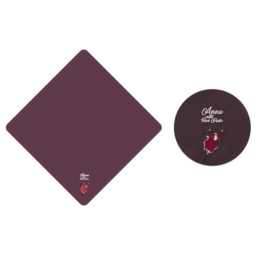 Dark Purple - Bookfriends Anne with Red Hair cotton handkerchief hankie