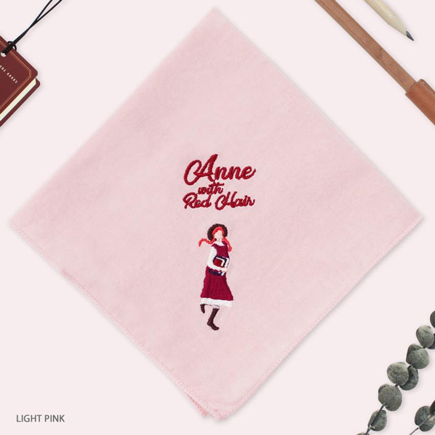 Light Pink - Bookfriends Anne with Red Hair cotton handkerchief hankie