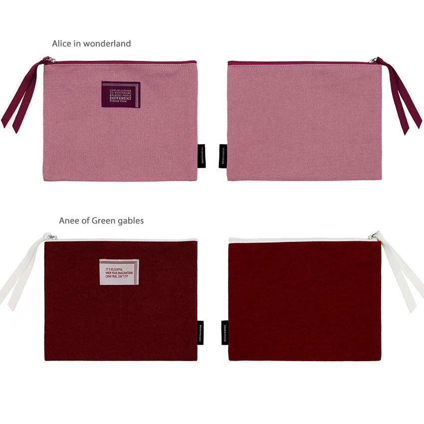 Option - Bookfriends World literature lettering cotton zip pouch