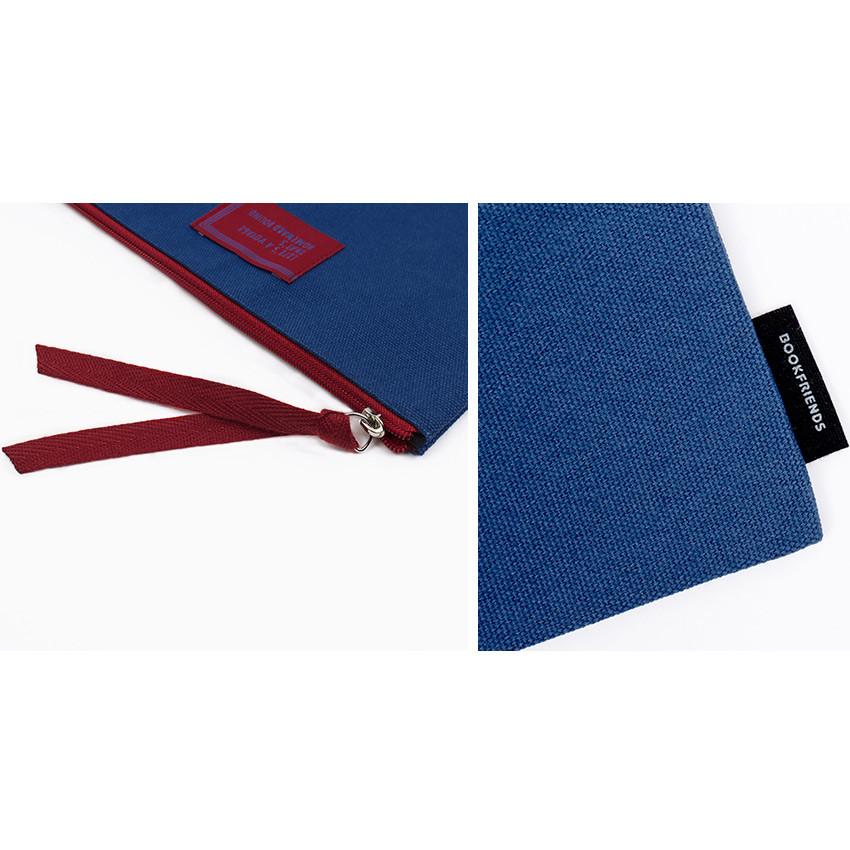 Detail of Bookfriends World literature lettering cotton zip pouch