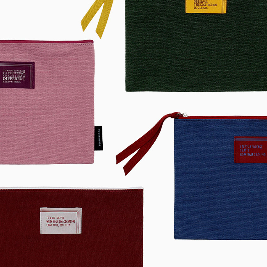 Bookfriends World literature lettering cotton zip pouch