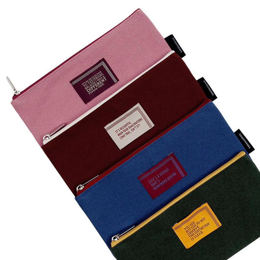 World literature lettering cotton zip pencil case pouch