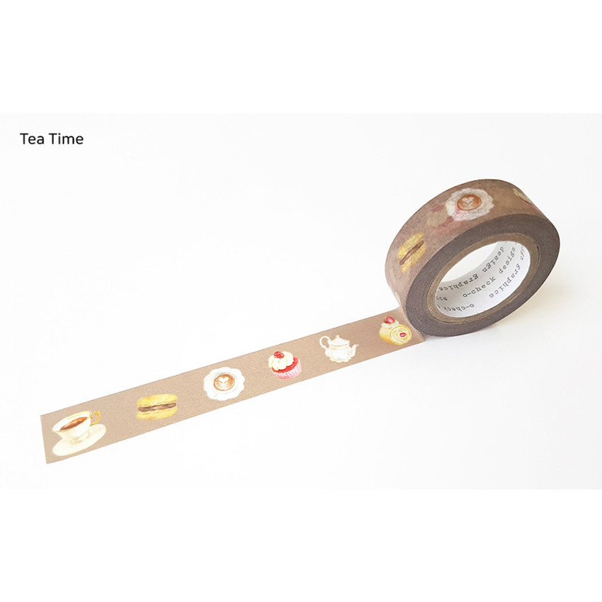 Tea Time - O-CHECK aDecorative craft 15mm X 10m masking tape