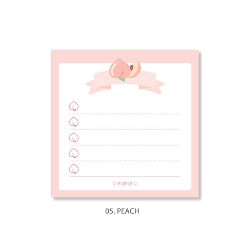 Peach - PLEPLE Fruits ribbon memo notes checklist notepad