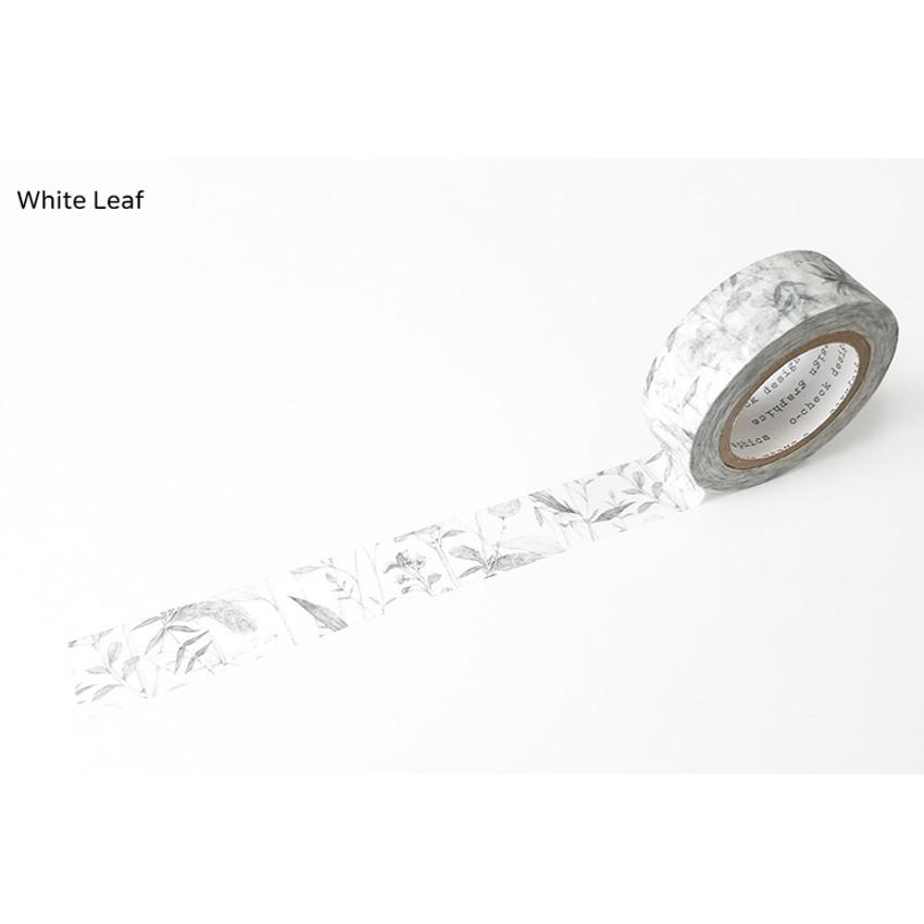 White Leaf - O-CHECK Vintage decorative craft 15mm X 10m masking tape