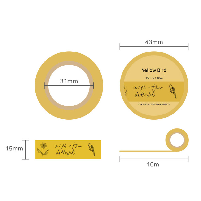 Size - O-CHECK Vintage decorative craft 15mm X 10m masking tape