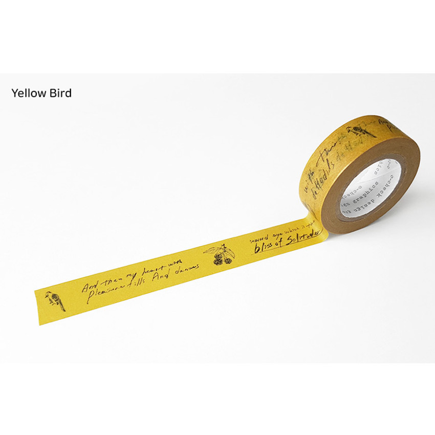Yellow Bird - O-CHECK Vintage decorative craft 15mm X 10m masking tape
