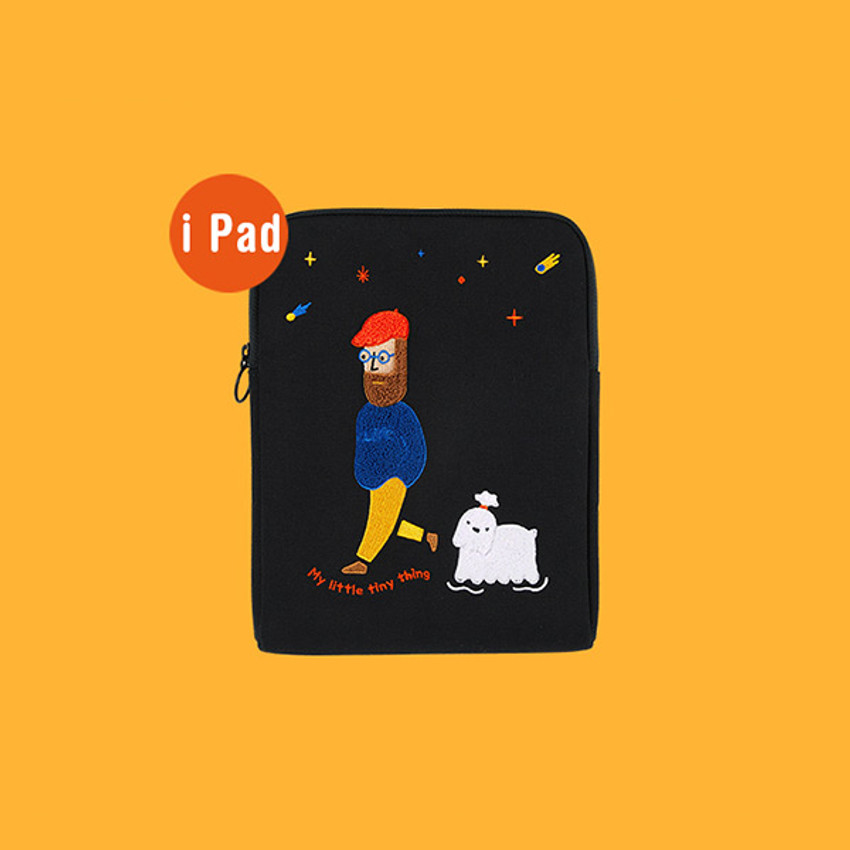 iPad pouch - Moonwalker boucle canvas iPad laptop sleeve pouch case