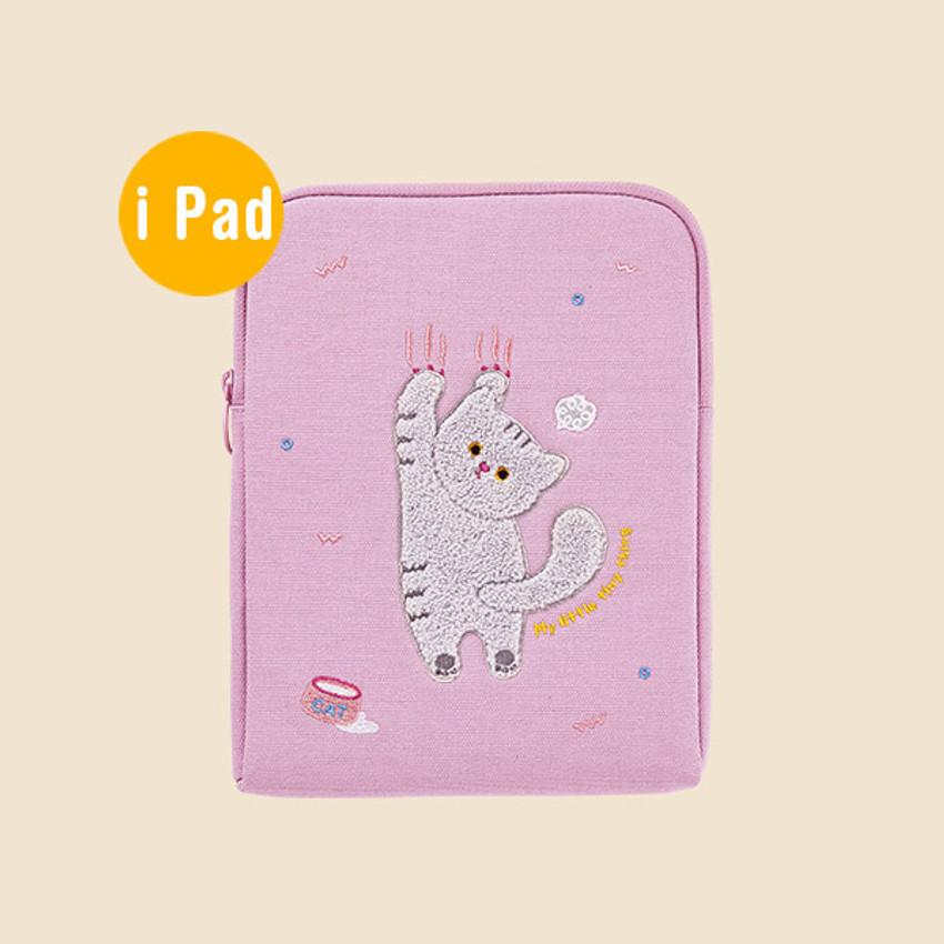 iPad - Milk cat boucle canvas iPad laptop sleeve pouch case