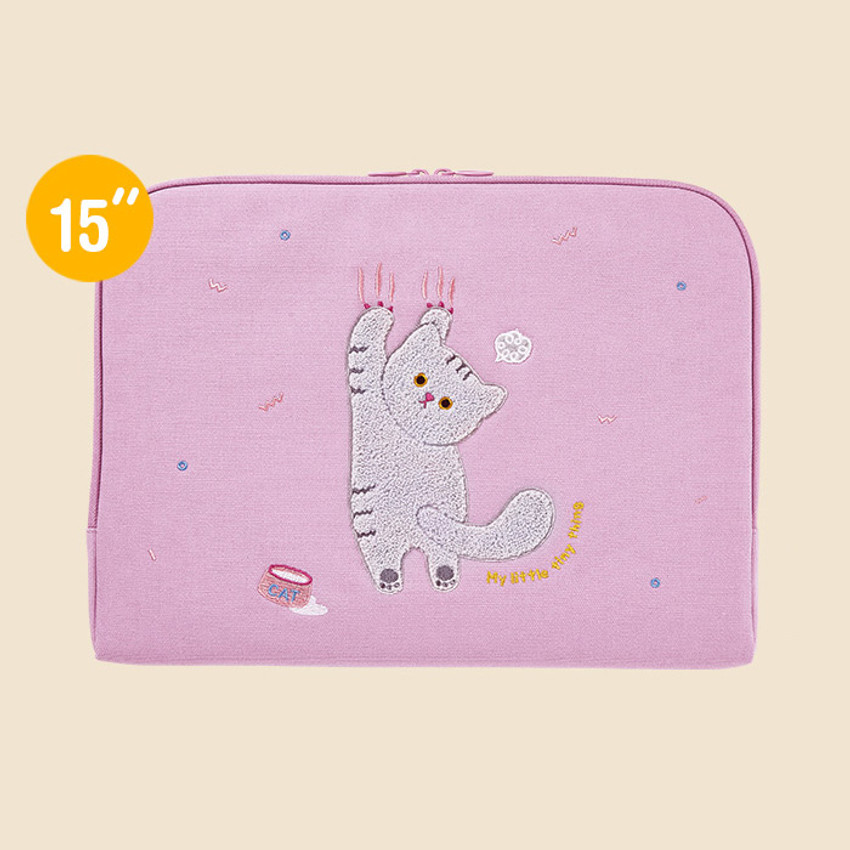15 inches - Milk cat boucle canvas iPad laptop sleeve pouch case