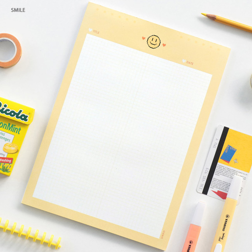 Smile - ICONIC Sweet B5 size grid notes memo notepad