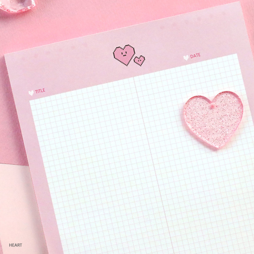 Heart - ICONIC Sweet B5 size grid notes memo notepad