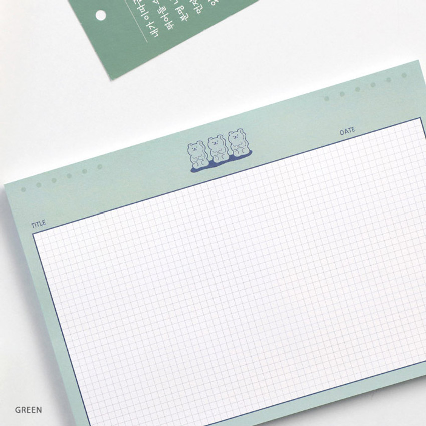 Green - ICONIC Buddy B5 size grid notes memo notepad