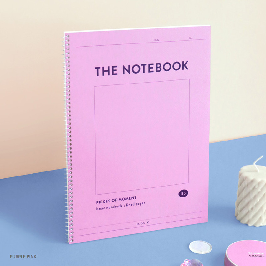 Purple Pink - ICONIC Pieces of moment basic spiral B5 lined notebook