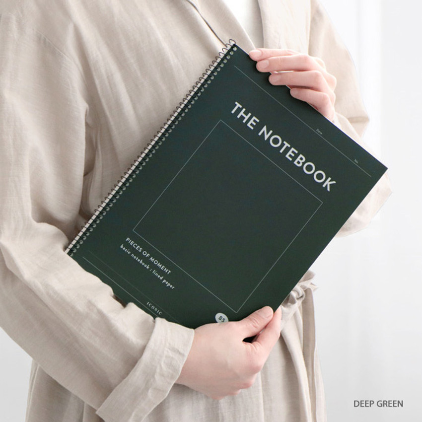 Deep Green - ICONIC Pieces of moment basic spiral B5 lined notebook