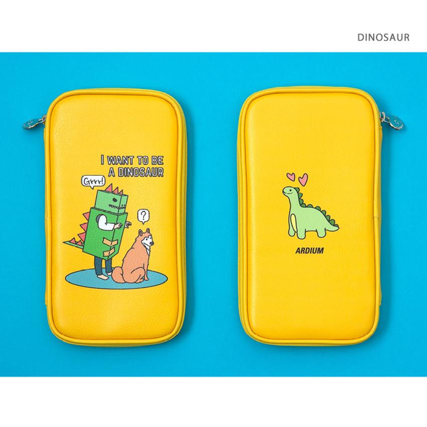 Dinosaur - Ardium Colorpoint flat zip pencil case pouch