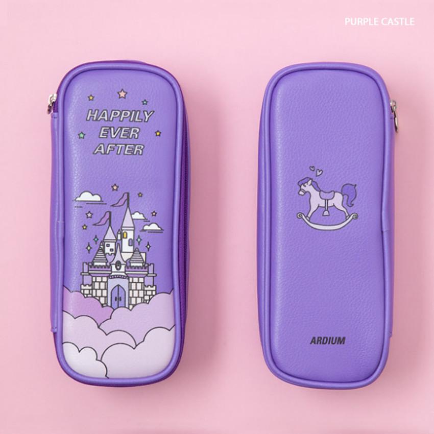 Purple Castle - Ardium Color point block zip pencil case pouch