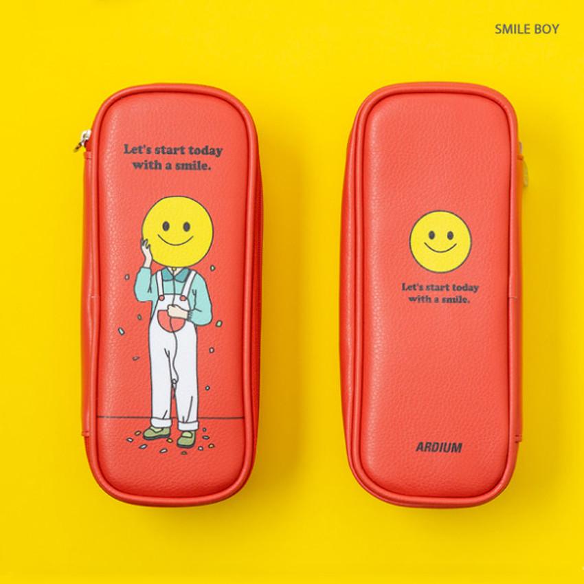 Smile Boy -Ardium Color point block zip pencil case pouch