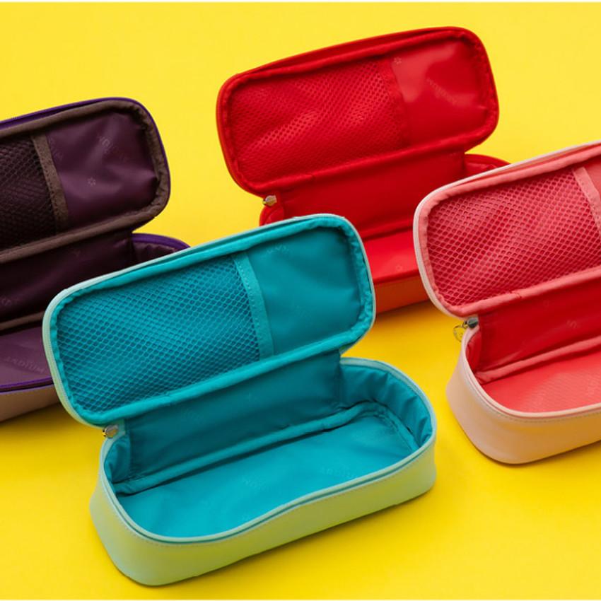 Inner mesh pocket - Ardium Color point block zip pencil case pouch