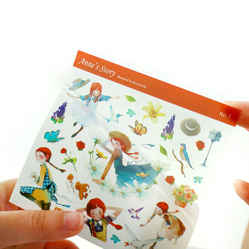 Anne and Daddy long legs self-cut clear sticker