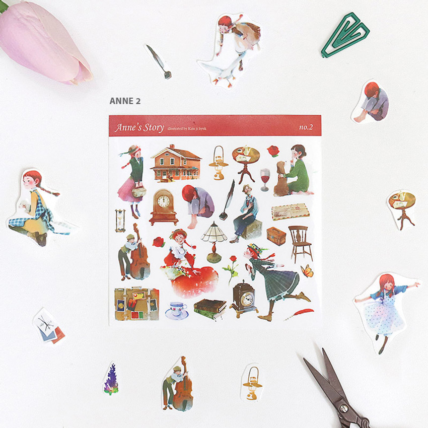 Anne 2 - Anne and Daddy long legs self-cut clear sticker