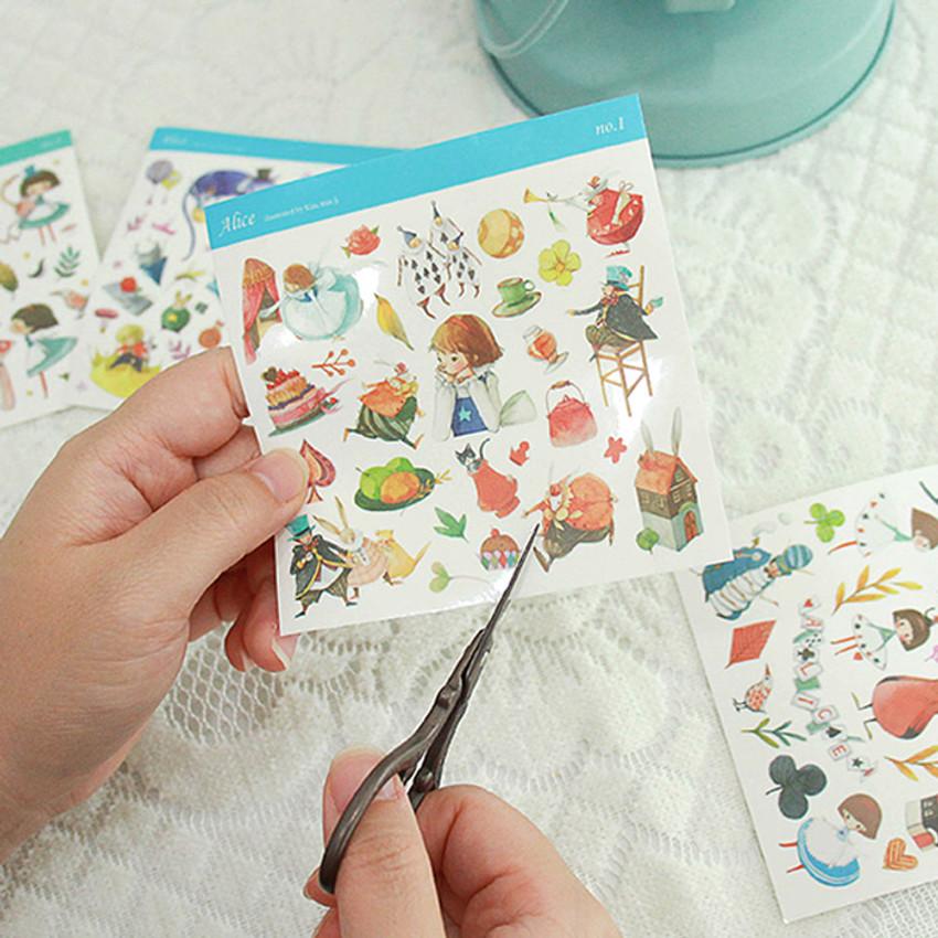 Indigo Alice self-cut clear sticker