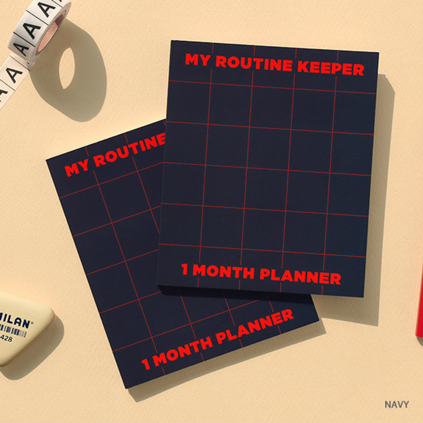Navy - My routine keeper 1 month dateless weekly planner scheduler