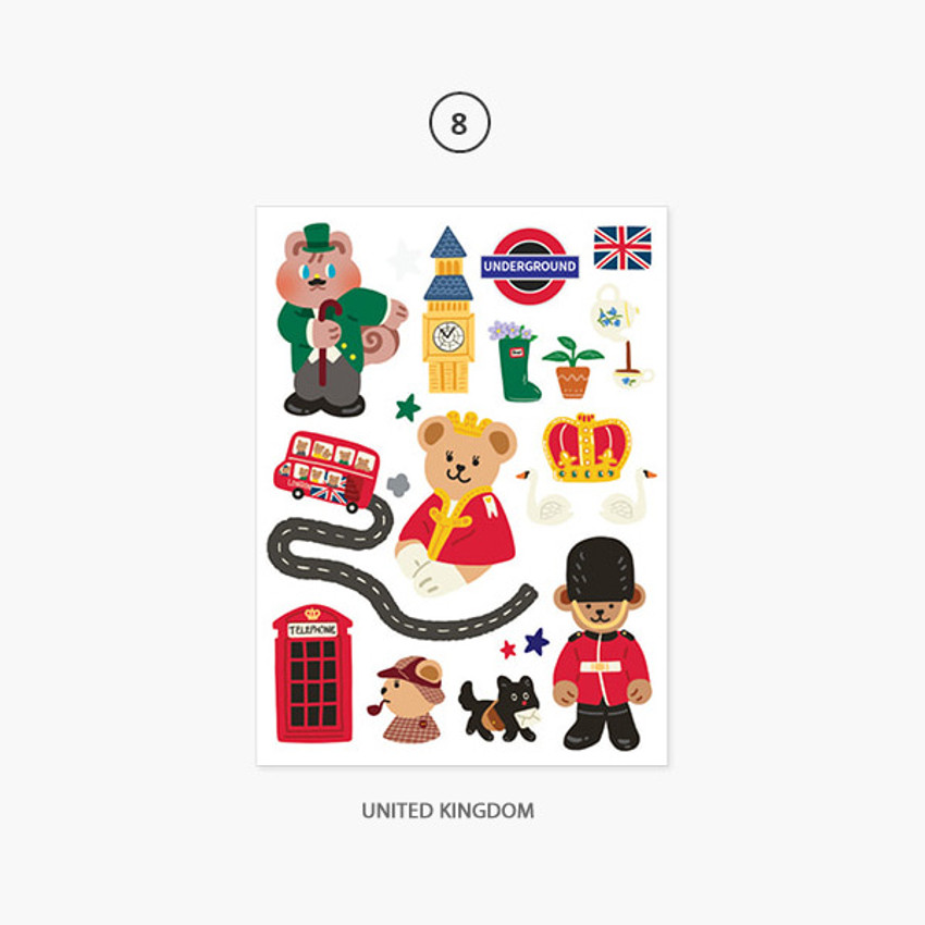 08 United Kingdom - Project country my juicy bear removable sticker