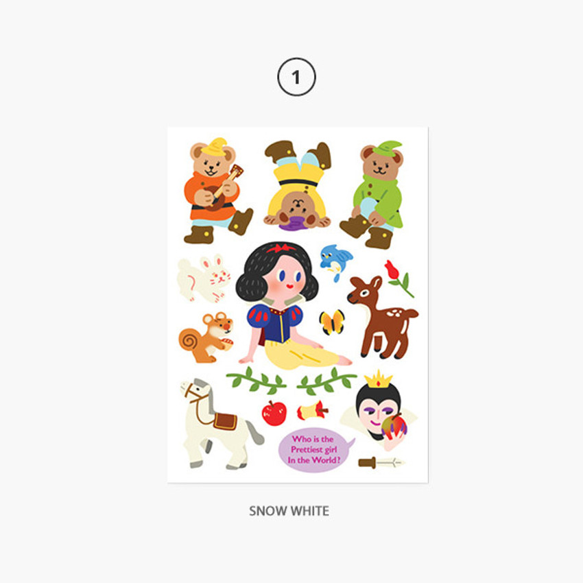 01 Snow White - Project fairy tale my juicy bear removable sticker