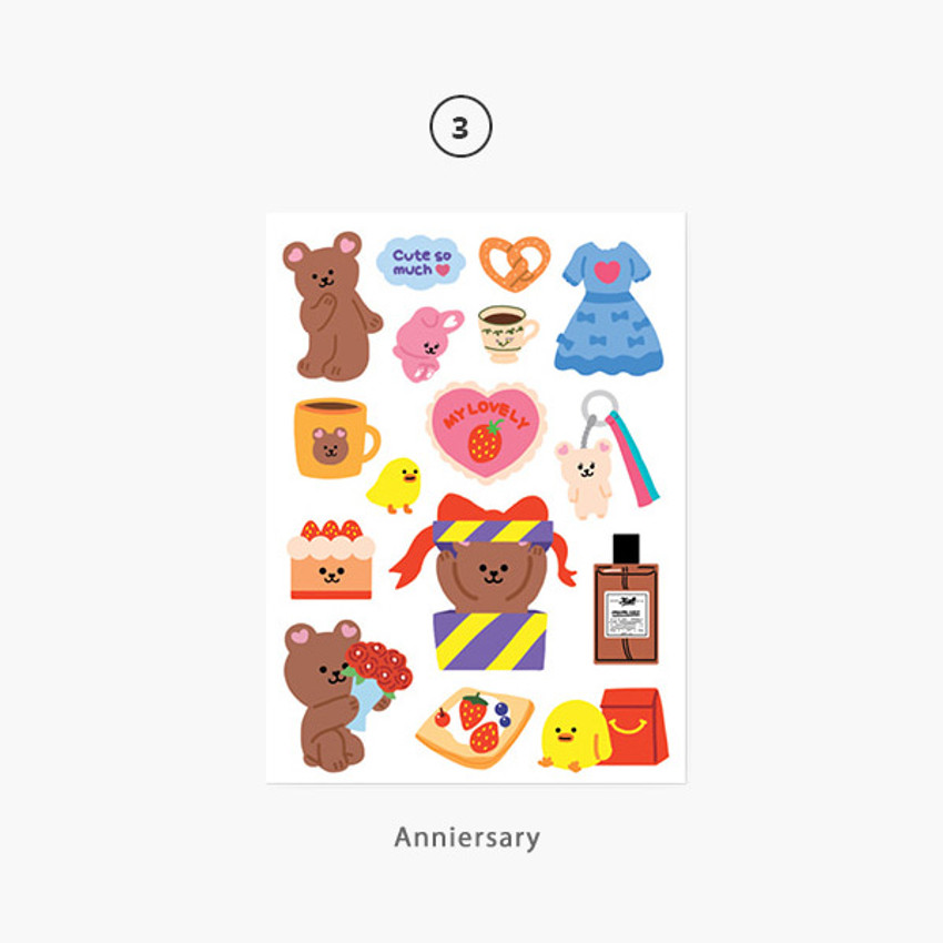 03 Anniersary - Project basic my juicy bear removable sticker