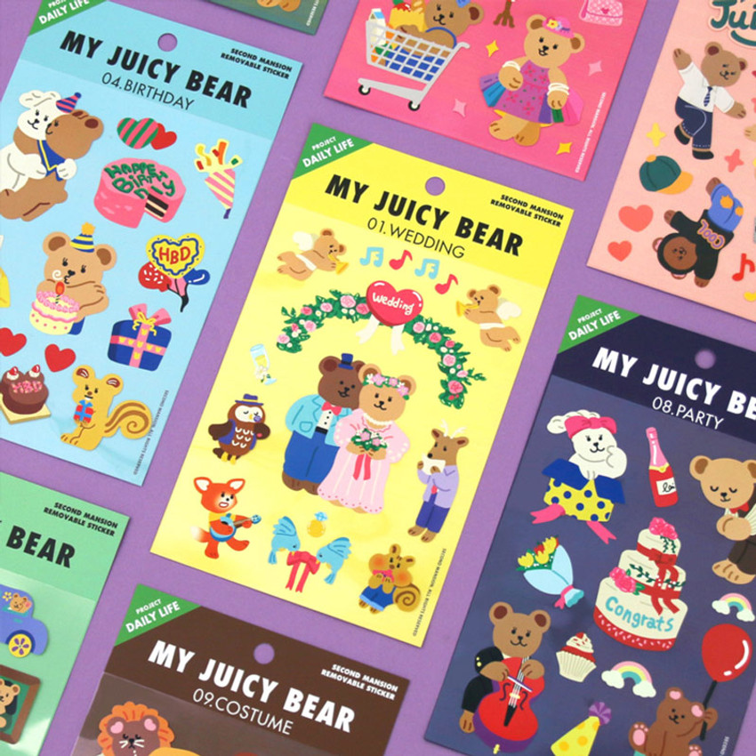 Project daily life my juicy bear removable sticker