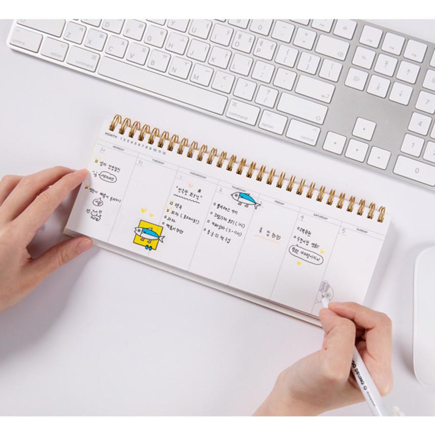 Usage example - DESIGN IVY Ggo deung o spiral dateless weekly desk planner