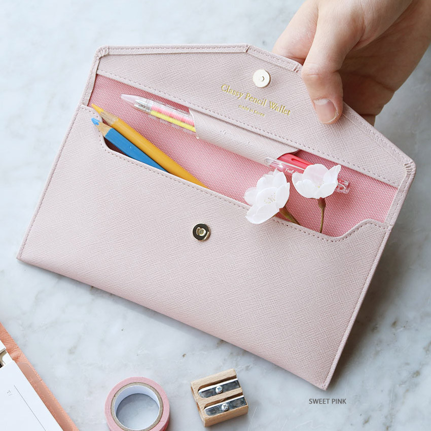 Sweet pink - Play Obje Classy synthetic leather wallet pencil case