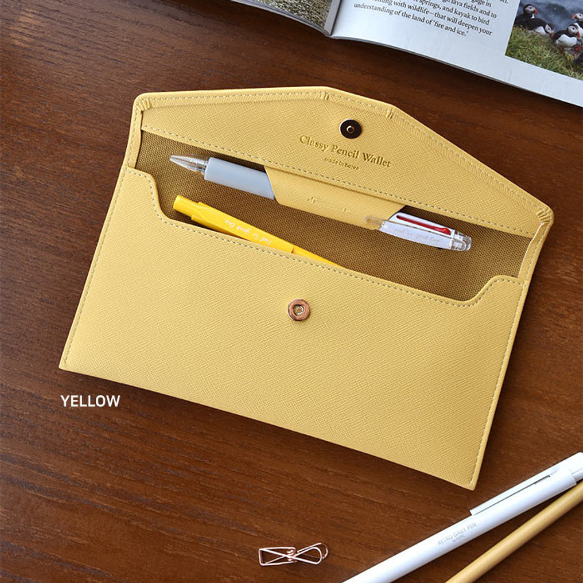Yellow - Play Obje Classy synthetic leather wallet pencil case